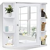 COSTWAY Spiegelschrank Badezimmer, Badezimmerspiegel mit Ablagen, Badezimmerspiegelschrank weiß,...