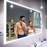 Badspiegel 100x90cm mit LED Beleuchtung - Wählen Sie Zubehör - Individuell Nach Maß - Beleuchtet...