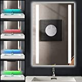 Ankishi 7 In 1 RGB 20W Badspiegel mit Beleuchtung, 2700K-6500K Dimmbar Badezimmerspiegel LED Mit...