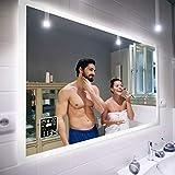 Badspiegel 120x70cm mit LED Beleuchtung - Wählen Sie Zubehör - Individuell Nach Maß - Beleuchtet...