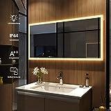 Meykoers Wandspiegel Badezimmerspiegel LED Badspiegel mit Beleuchtung 120x60cm Warmweiß 3000K,...