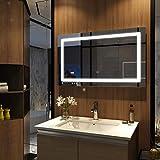 Meykoers Wandspiegel Badezimmerspiegel LED Badspiegel mit Beleuchtung 100x60cm mit Uhr,...