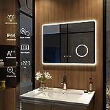 Meykoers Wandspiegel Badezimmerspiegel LED Badspiegel mit Beleuchtung 80x60cm, Spiegel mit...