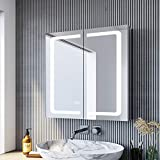 SONNI LED Spiegelschrank 65 × 65cm beschlagfrei Spiegelschrank mit Beleuchtung mit Steckdose...