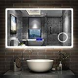 AicaSanitär LED Badspiegel 120×70cm 2 Lichtfarbe 2700/6000K Wandspiegel mit Bluetooth, Uhr,...