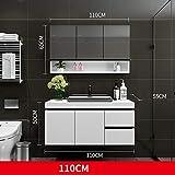 SNOLEK Massivholz Badezimmerschrank Kombination modernen minimalistischen 110 cm + Spiegelschrank...
