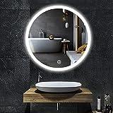 YOLEO Badspiegel mit LED-Beleuchtung in 3 Farben, Runder Wandspiegel 60*60cm, Badzimmer Spiegel mit...