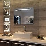 SONNI Badspiegel mit Beleuchtung 80x60cm LED Badezimmerspiegel mit Schminkspiegel Energiesparend...