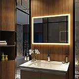 Meykoers Wandspiegel Badezimmerspiegel LED Badspiegel mit Beleuchtung 80x60cm Warmweiß 3000K,...