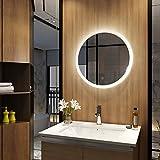 Meykoers Wandspiegel Badezimmerspiegel LED Badspiegel Rund mit Beleuchtung 60cm 3 Lichtfarben...