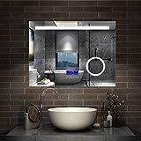 AicaSanitär LED Badspiegel 80×60cm 2 Lichtfarbe Wandspiegel mit Bluetooth, Touch,...