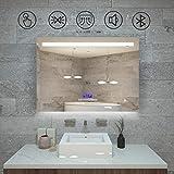 Qiyang badezimmerspiegel Bluetooth 800 x 600 MM kosmetikspiegel mit licht schminkspiegel Uhr mit...